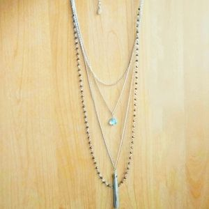 UK Gem & gold tassle fashion necklace